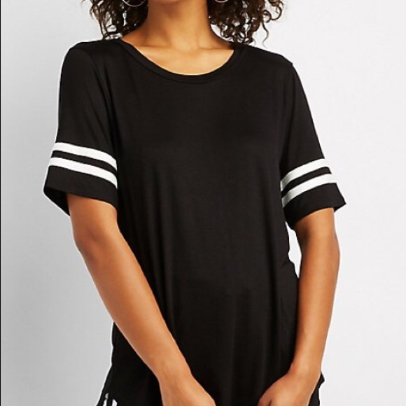 CHARLOTTE RUSSE KNOTTED T SHIRT BLACK MED NWT